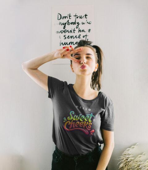 Free Female model tshirt mockup 1