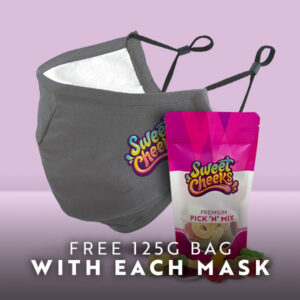 grey mask with sweets