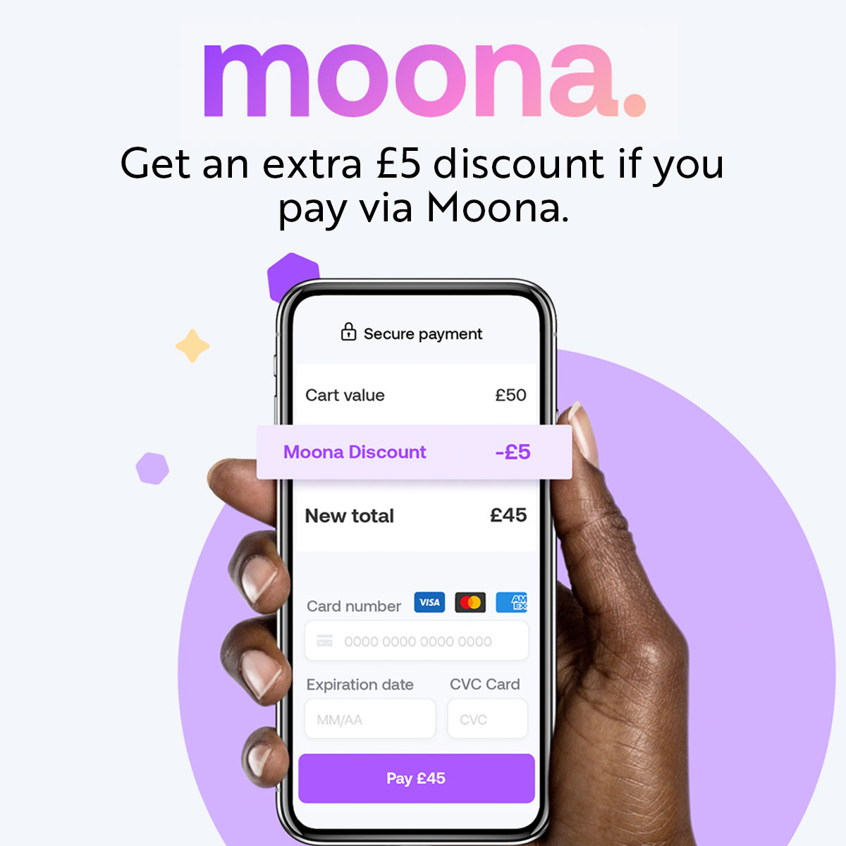 £5 discount if you pay with Moona